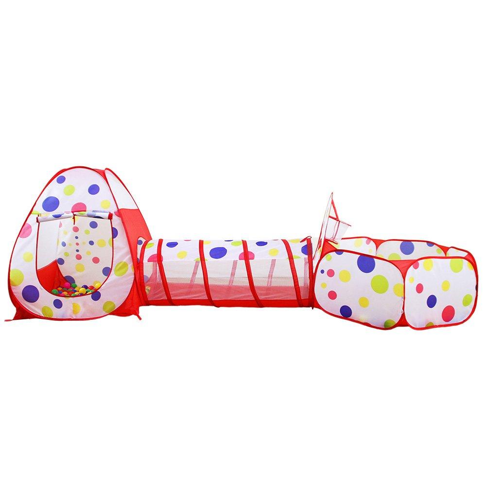 キッズテント テント 玩具テント 3pc キッズ プレイテント クロールトンネル ボールピット バスケットボールフープ付き 男女、赤ちゃん、幼児、ペット用 B07GKQW314