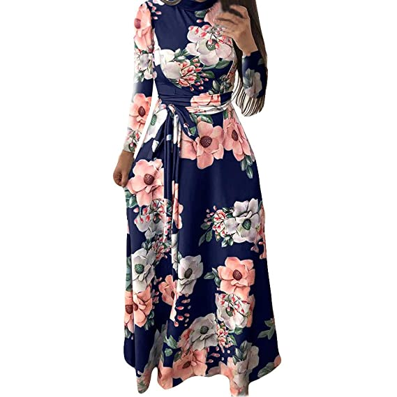 beautyjourney Vestido Maxi Estampado Floral de Las Mujeres Vestido de Fiesta  Elegante Manga Larga Cuello Redondo Vestidos de Noche Túnica Bodycon Vestido  ... bb0a49cf973d