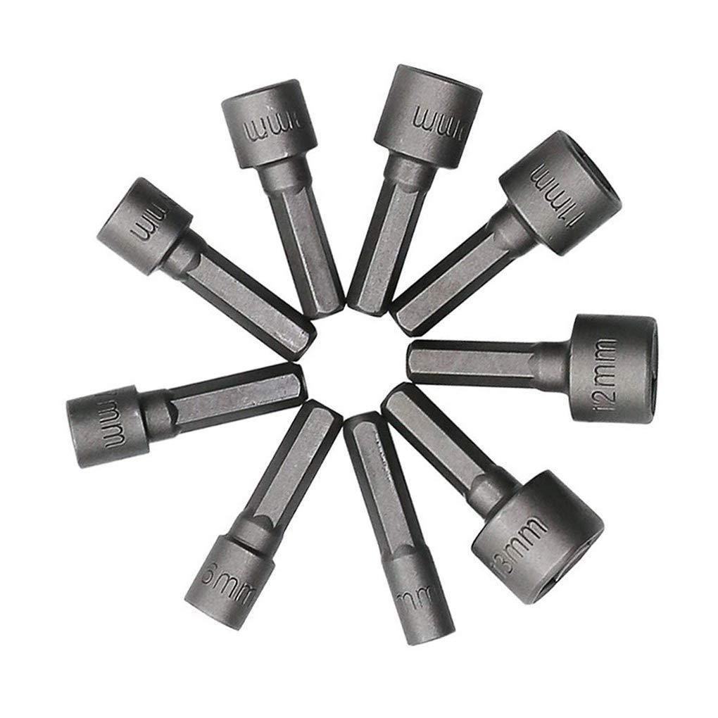 BoburyL 9pcs 5-13mm Acero Tuerca de energ/ía Taladro Atornillador bit Kit del v/ástago Hexagonal m/étrica Adaptador Llave de Cubo