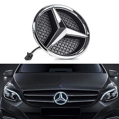 Bearfire White LED Emblem for Mercedes Benz W204 C-Class, X204 GLK-Class, Front Car Grille Badge, Illuminated Logo Hood Star DRL (White, transparent grid): Automotive
