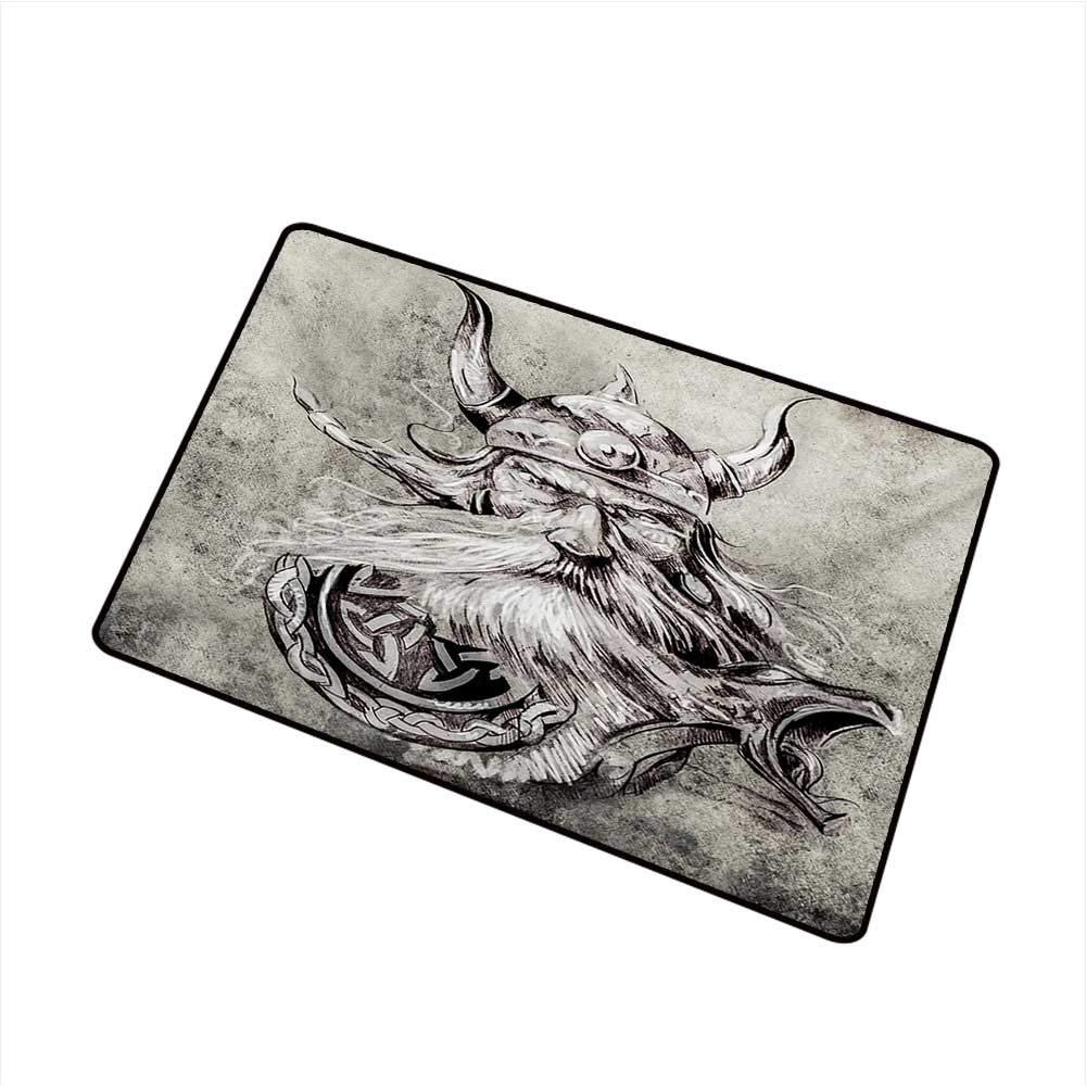 Amazon com duommhome modern door mat tattoo artistic pencil drawing of a brave viking warrior with armour image adventure w35 xl47 mildew proof garden