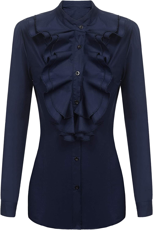 Zeagoo Women Victorian Blouses High Neck Shirts Long Sleeve Button Down OL Tops