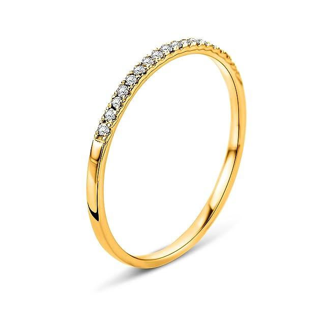 01b639f2e126 Orovi Anillo Señora compromiso aniversario en Oro Amarillo con Diamantes  Talla Brillante 0.08 ct Oro 9 Kt   375  Amazon.es  Joyería