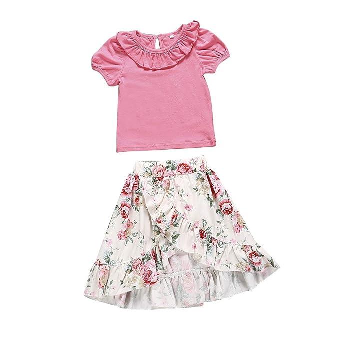 6b32dba74b41 Toddler Girl Short Sleeve Back Button T-Shirt Floral Ruffled Crossover Long  Skirt 2 Pcs