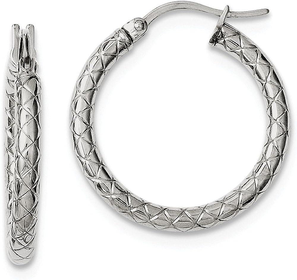 Stainless Steel Small Textured Hollow Hoop Earrings