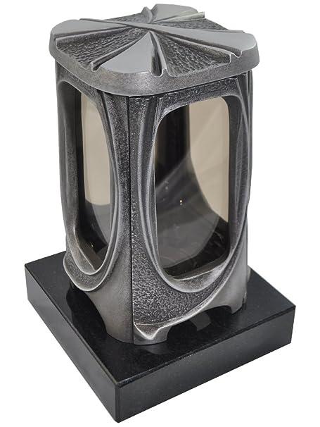 Grablaterne 622 aus Aluminium fertigmontiert auf Einem Granitsockel (Granitsockel 17cm x17cm x4cm, Black (SSY))