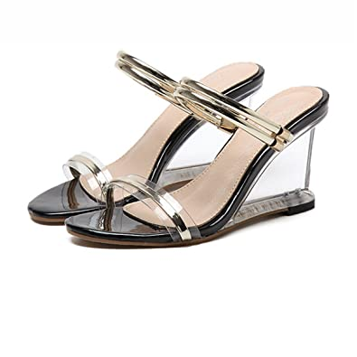 5a93e92553f Hanxue Women s Fashion Open Toe Shoes Transparent Wedge Sandals Gold US  5(EU ...