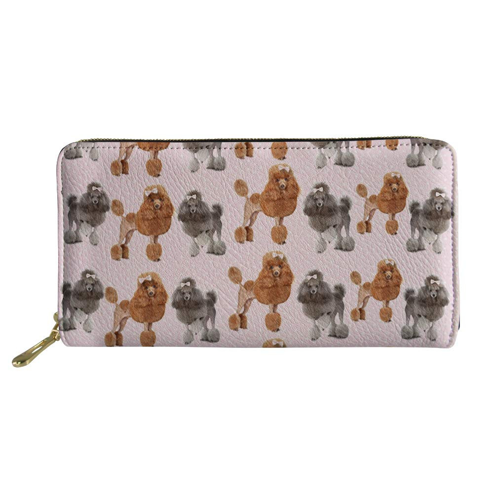 HUGS IDEA motivo animale stile Boston Terrier Cluch Rosa Barboncino 2 in pelle Portafoglio lungo da donna taglia unica