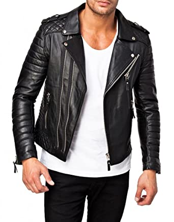 Leather4u Genuine Leather Jacket for Men - Lambskin Leather KL369 XS Black