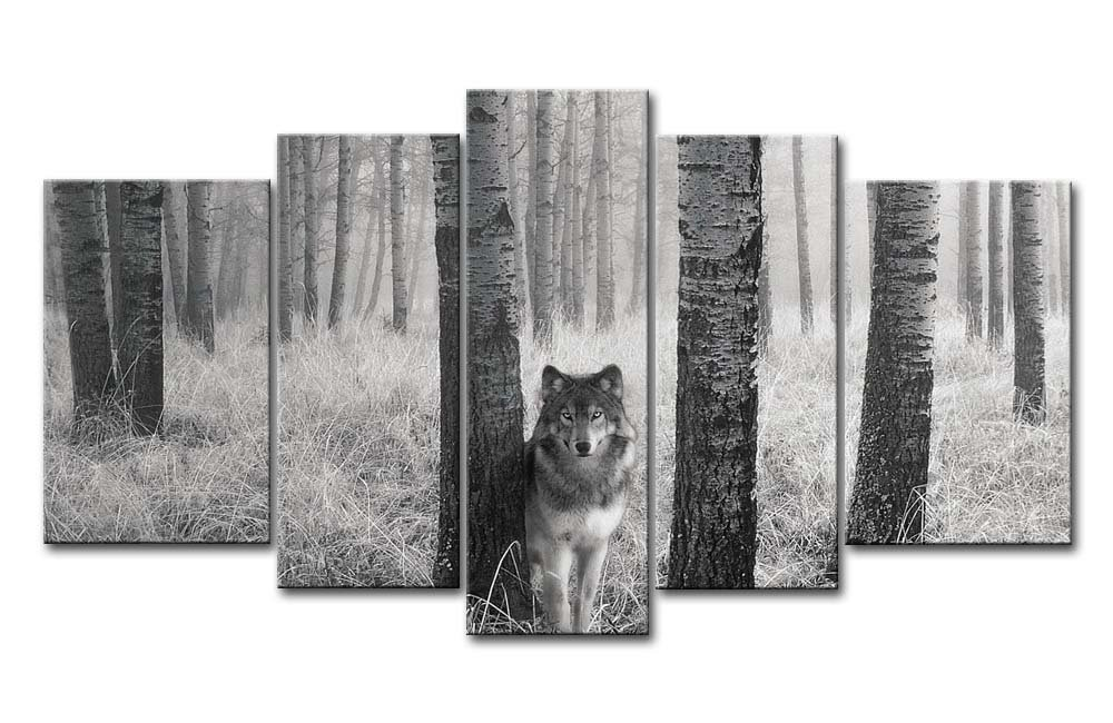 Amazon com 5 panel wall art painting watchful wolf eyes in the wild prints on canvas the picture animal pictures oil for home modern decoration print