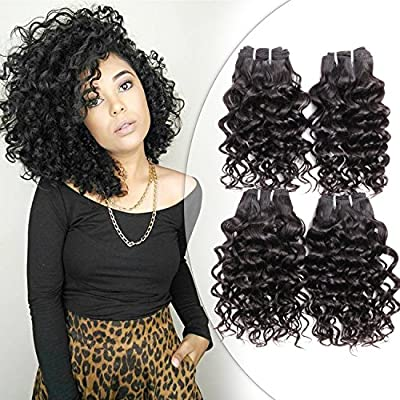 Brazilian Water Curly 4 Bundles Human Hair Weave Natural Black Unprocessed Remy Hair Short Curly Weave Virgin Hair Extensions 200g Lot 10 10 10 10 Water Wave Buy Online At Best Price In Uae Amazon Ae