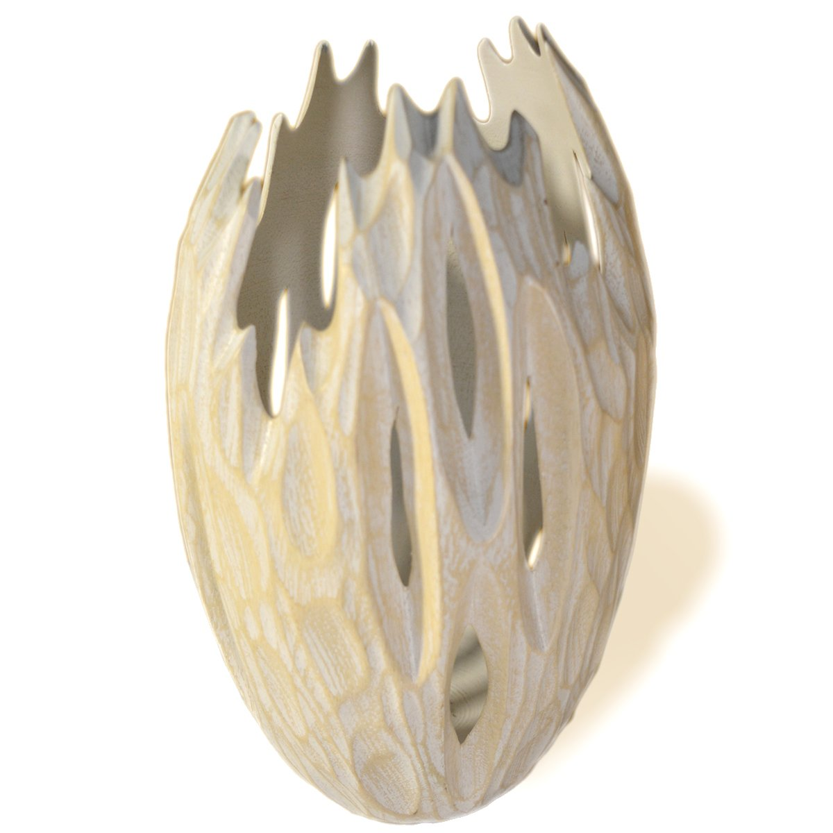 Roro Minimalist Handcarved Wood Vase with Upward Grooves (Whitewash)