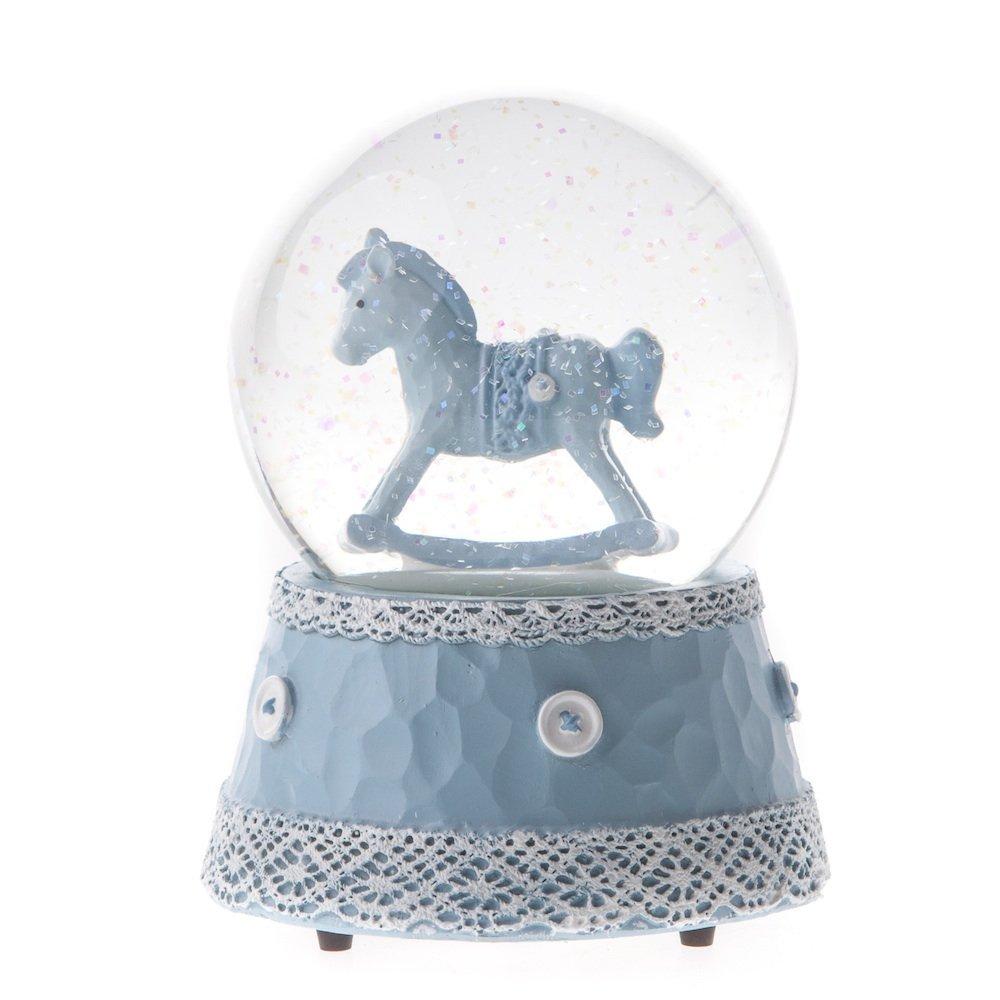 Gisela Graham - Palla di vetro musicale con neve e motivo a cavallo a dondolo, per bimbo