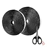 AIEX 39.37 Feet/12m Sticky Back Strip, Hook and Loop Self Adhesive Tape Roll With Gift Scissors (black)