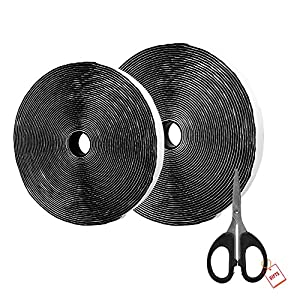 AIEX 39.37 Feet/12m Hook and Loop Self Adhesive Tape Roll with Gift Scissors