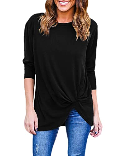Ruanyu Womens Long Sleeve Loose Tops Solid Basic Twist Front Casual T Shirts