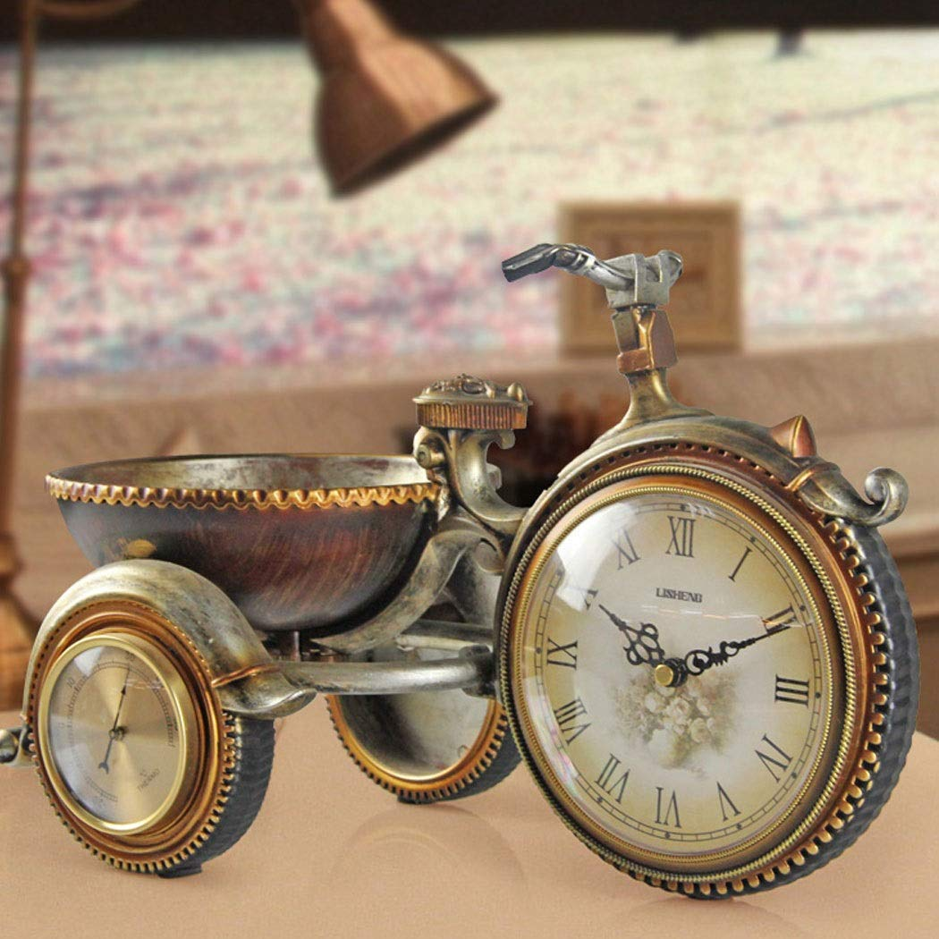 HONGNA European Retro Plastic Clocks Living Room Clock Tricycle Decorative Ornaments Personality Creative Table Clock Art Table Clock Environmentally Friendly Material 22.535cm (Size : 22.535cm) by HONGNA (Image #4)