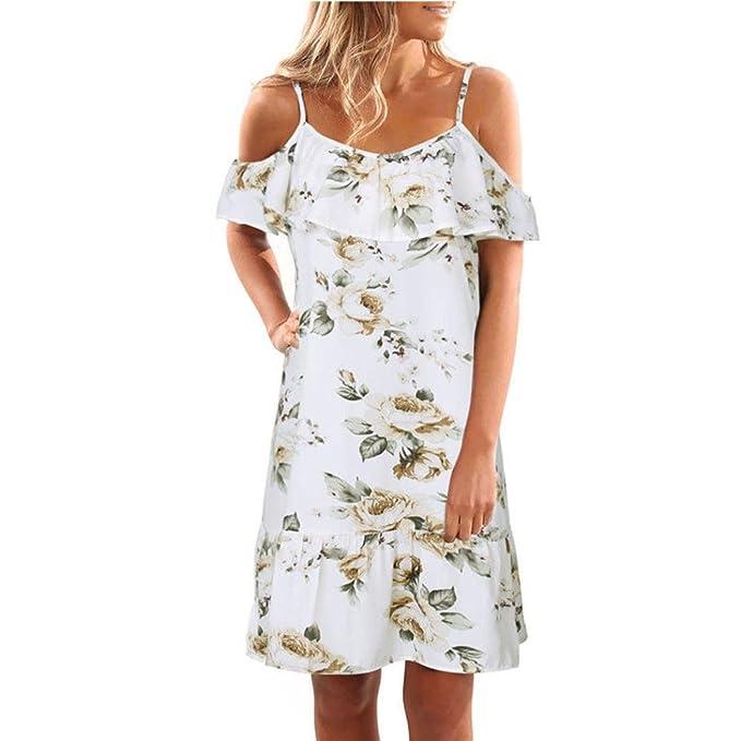 Challeng Ropa de Mujer Verano Floral Volantes Vestido Hombro sin Tirantes Mini Vestido Vestido de Fiesta