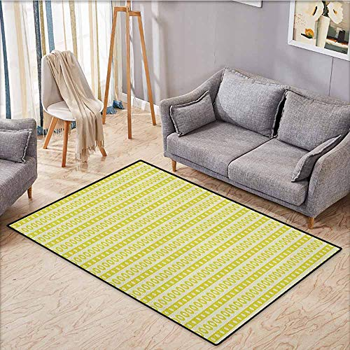 Outdoor Patio Rug,Geometric,Vertical Lines Circles and Cute Little Polka Dots Retro Colored Abstract,Anti-Slip Doormat Footpad Machine Washable,4'11