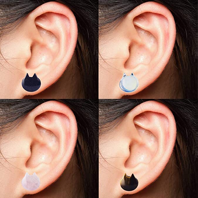 Amazon.com: Yr Fashion - Pendientes elásticos de gato con ...