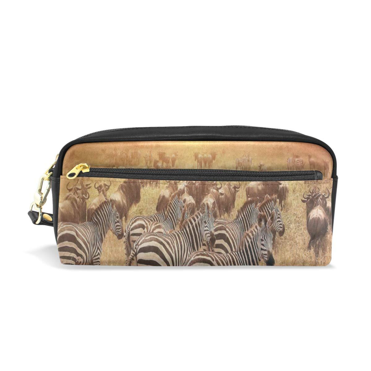 Pen Case Animal Zebra Sunset Fall Grass Pencil Pouch Makeup Cosmetic Travel School Bag