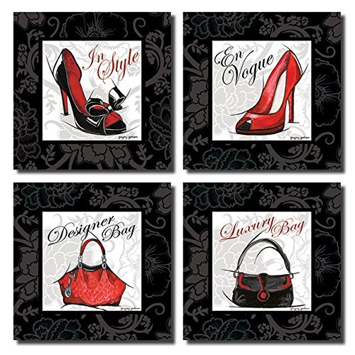 Fashion High Heel And Designer Luxury Purse Set; Four 8x8in Poster Prints.  Red/Black/White