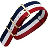 Blue/White/Red High-end Superior Nato style Ballistic Nylon Watch Band Strap Replacement for Men