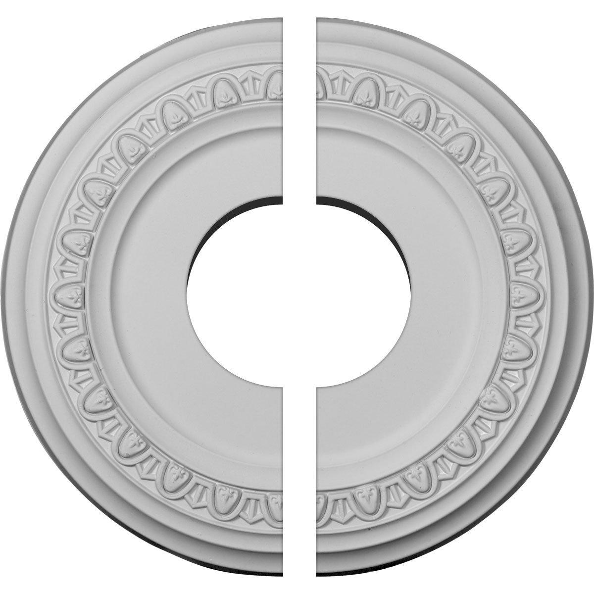 Ekena Millwork CM12JA2 12 1/4''OD x 4''ID x 1 1/8''P Jackson Ceiling Medallion, Fits Canopies up to 7-3/8'', 2 Piece