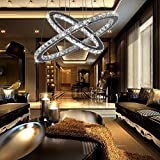 Crystal Chandelier,TOPMAX Design 60cm Cut Crystal LED Pendant With Oval Two Rings,Ceiling Light Fixture