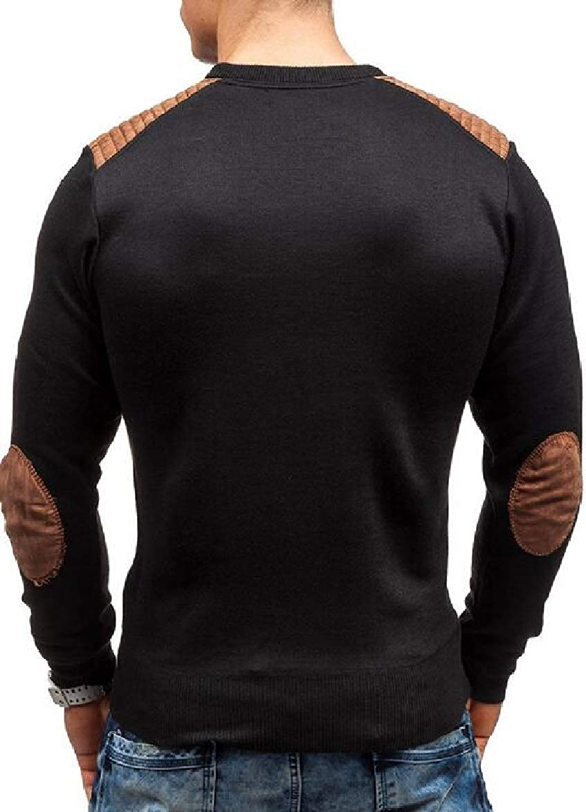 RRINSINS Mens Knit Long-Sleeved Tops Pullover Elbow Patchs Slim Scoop Neck Sweater