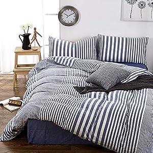 Blue Striped Bedding Sets Beachfront Decor