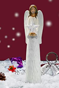 Floryden Christmas Angel Figurines and Statues Holding LED Light Star, Premium Sculpted Hand-Painted Resin Angel Figures Perfect for Christmas, Holiday, Party Decoration