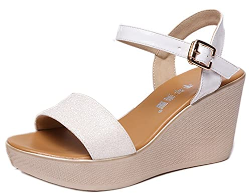 site réputé 98108 63f4b Easemax Femme Brillant Chaussure Compensée Paillettes Boucle ...