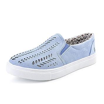 1cde1547840f59 Damen Schuhe Xinan Frauen Hollow Out Shoes Round Toe Plateau Flache Ferse  Slip auf Casual Shoes (EU 40 Blau) - einfacher-abnehmen-tipps.de