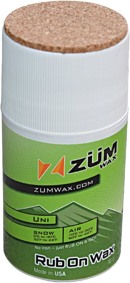 ZUMWax RUB ON Wax Ski/Snowboard - All Temperature Universal - 70 Gram - Incredibly Fast in All Temperatures!!!