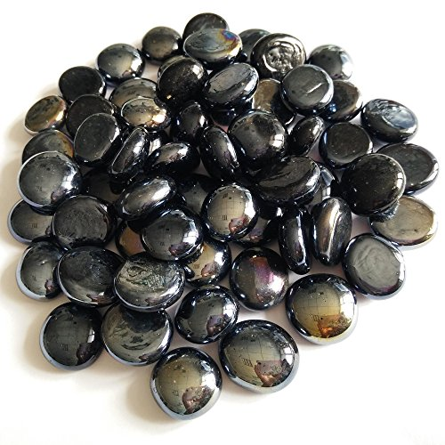 Coming Deco Glass Reflective Fire Glass Beads 10-Pound (Black Luster)
