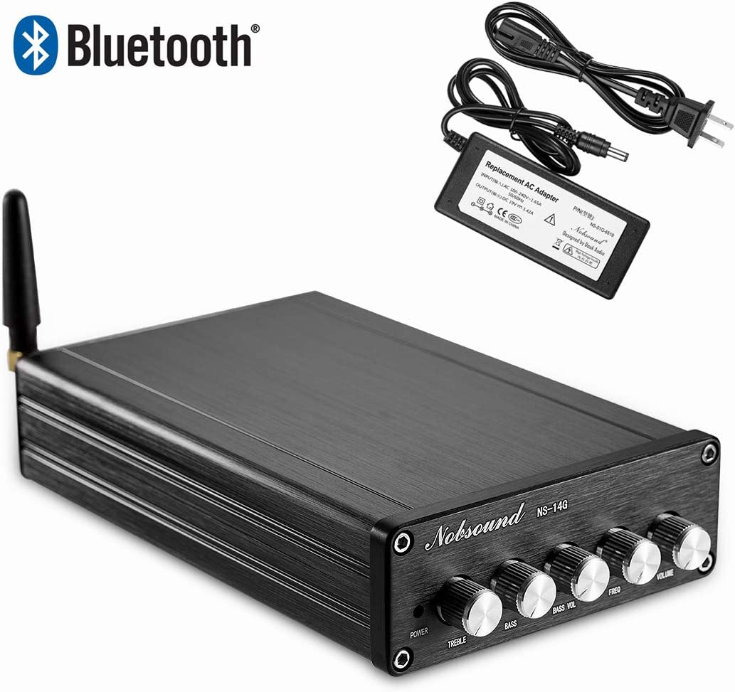 Nobsound 2.1 Channel Bluetooth 4.2 Amplifier , Class D Stereo Audio Amplifier , Mini Home Theater Power Amp , Digital Power Subwoofer Amplifier Receiver , 100W 50Wx2, Treble Bass Control NS-14G