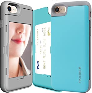 iPhone 8 Plus Case, Credit Card Holder ID Slot Mirror Card Case SKINU [iPhone 8 Plus Card Wallet Case] with Mirror for Apple iPhone 8 Plus (2017) - Teal