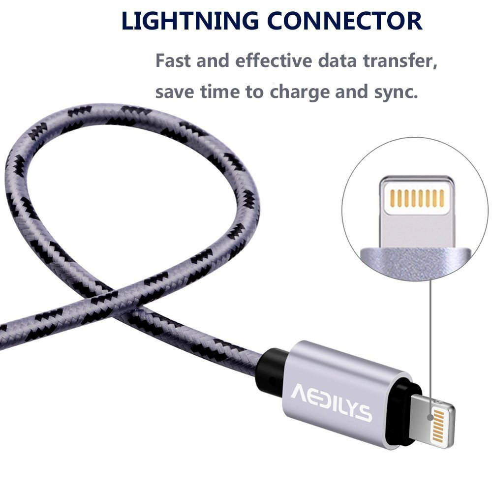iPhone Charger, AKEDRE 4 Pack [10FT 6.6FT 6.6FT 3.3FT] Nylon USB Charging & Syncing Cord Charger for iphone x/iPhone 8/8 Plus /7/7 Plus/6/6 Plus/6s/6s Plus/5/5s/5c/SE. by AKEDRE (Image #4)