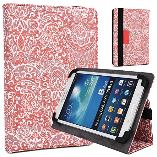 Coral Red/White Paisley Print Case Fits HP 8 G2 8-Inch, HP 8 Slate 2, Slate 7 HD Pro VoiceTab Ultra Plus Extreme, HP TouchPad Tablet | 7-7.9 inch Universal Stand Cover