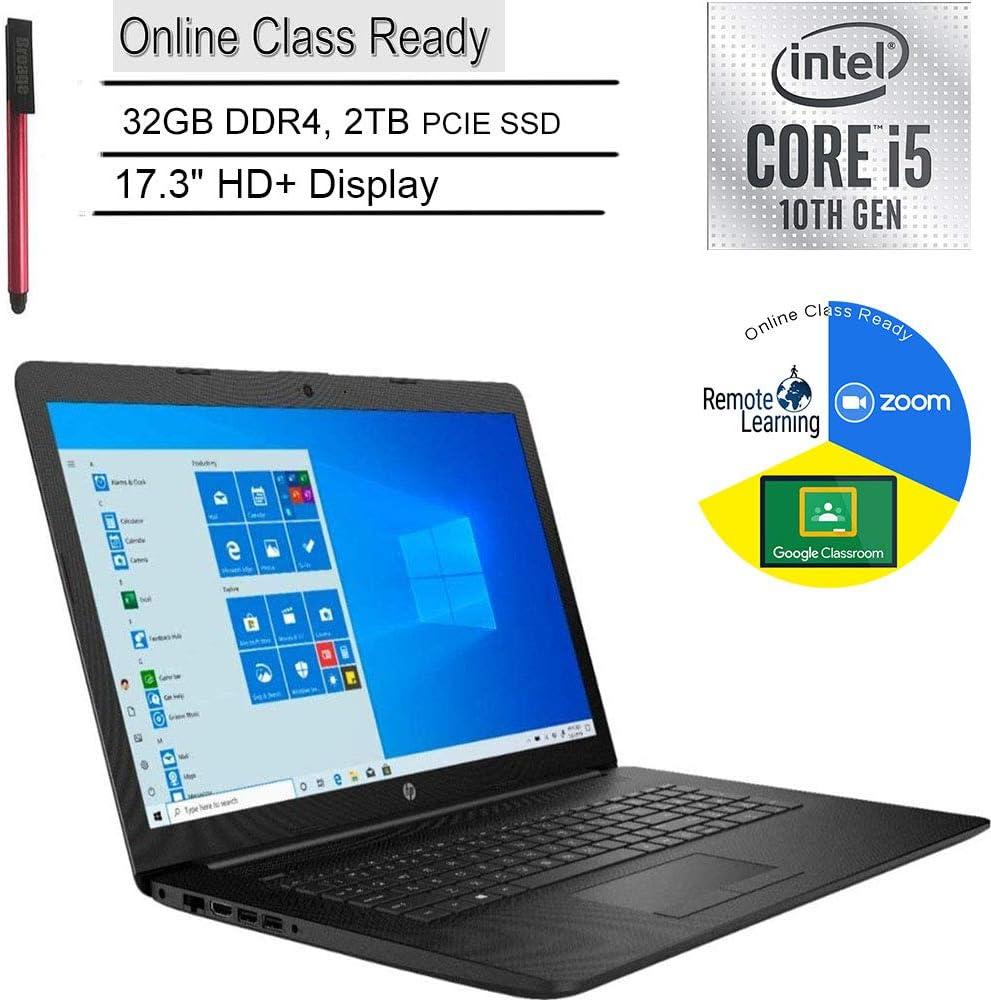 """2020 HP 17 17.3"""" HD+ Laptop Computer_ 10th Gen Intel Quad-Core i5 1035G1 (Beats i7-7500u)_ 32GB DDR4_ 2TB PCIe SSD_ DVDRW_ Online Class Ready_ Webcam_ Microphone_ Windows 10_ BROAGE 64GB Flash Drive"""
