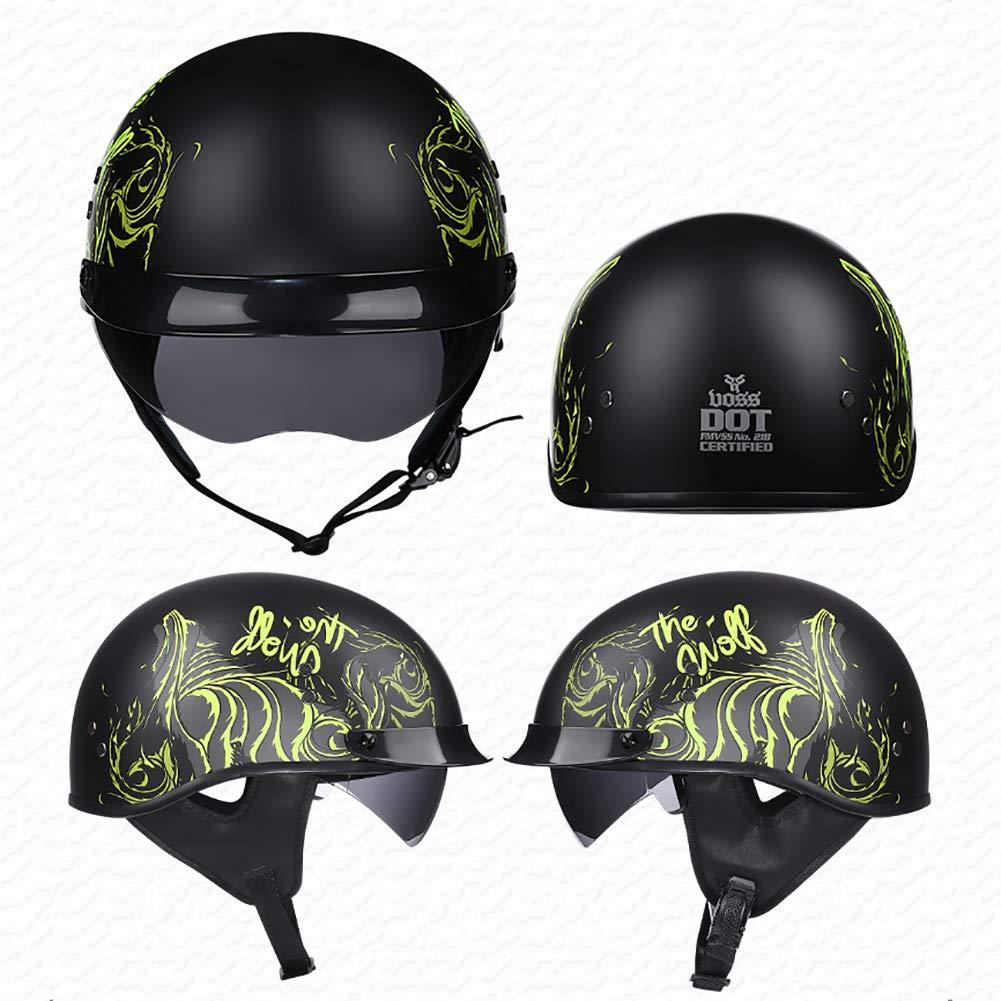 TKer Adults Men & Women Open Face Helmet with Goggles Sun Visor for Motorcycle Scooter Baseball, Breathable Jet Half Helmet DOT Approved,M by TKer