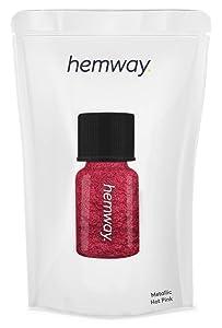 Hemway Pigment Powder Tube Premium Gel Nail Lip Gloss Dust Art Makeup Eyeshadow Face Body Eye Cosmetic Safe UV - 3.9g / 0.15oz - (Metallic Hot Pink)