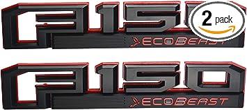 Matt Black 3x F150 Ecobeast Emblems Side Fender F150 Tailgate Ecoboost Badges 3D Nameplate Compatible for F-150