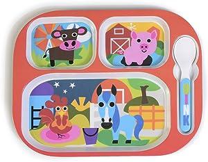 French Bull 4pc Toddler Kids Feeding Melamine Tableware Flatware BPA Free Dishwasher Safe, Durable Plate, Cup, bowl, Divided Tray Dinnerware Set, Farm