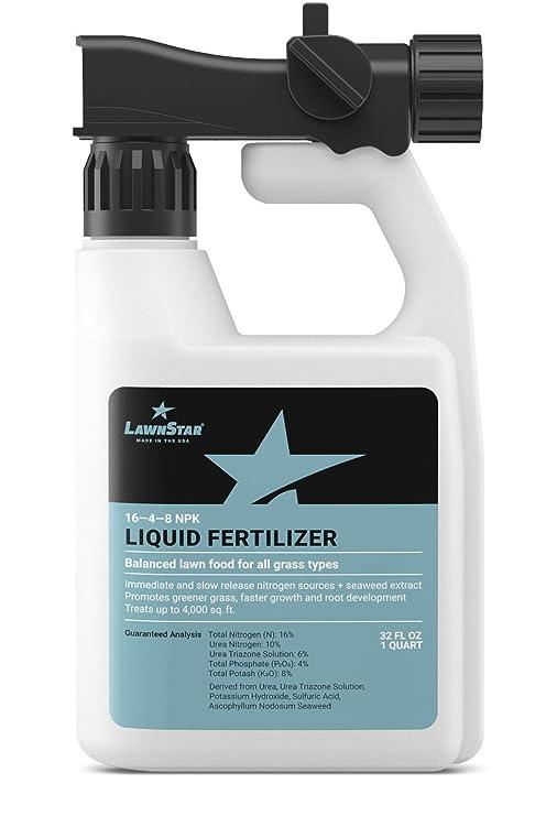 LawnStar 16-4-8 NPK Fertilizer (32 OZ) - Makes Grass Grow Greener & Faster  - Liquid Lawn Food with Slow & Fast Release Nitrogen - Ideal Spring &