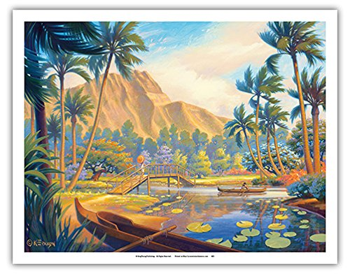 A Walk in the Park - Kapiolani Park - Oahu, Hawaii - Vintage Style Hawaiian Travel Poster by Kerne Erickson - Fine Art Print - 11in x 14in