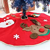 40'' Christmas Tree Skirt Red Tree Mat with 3D Santa, Elk & Snowman Xmas Tree Skirt Holiday Party Decorations