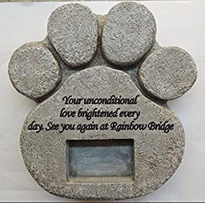 Two Jacks Paw Print Memorial Stone Pet Headstone Memorial Garden Dog Cat Customize with Photo