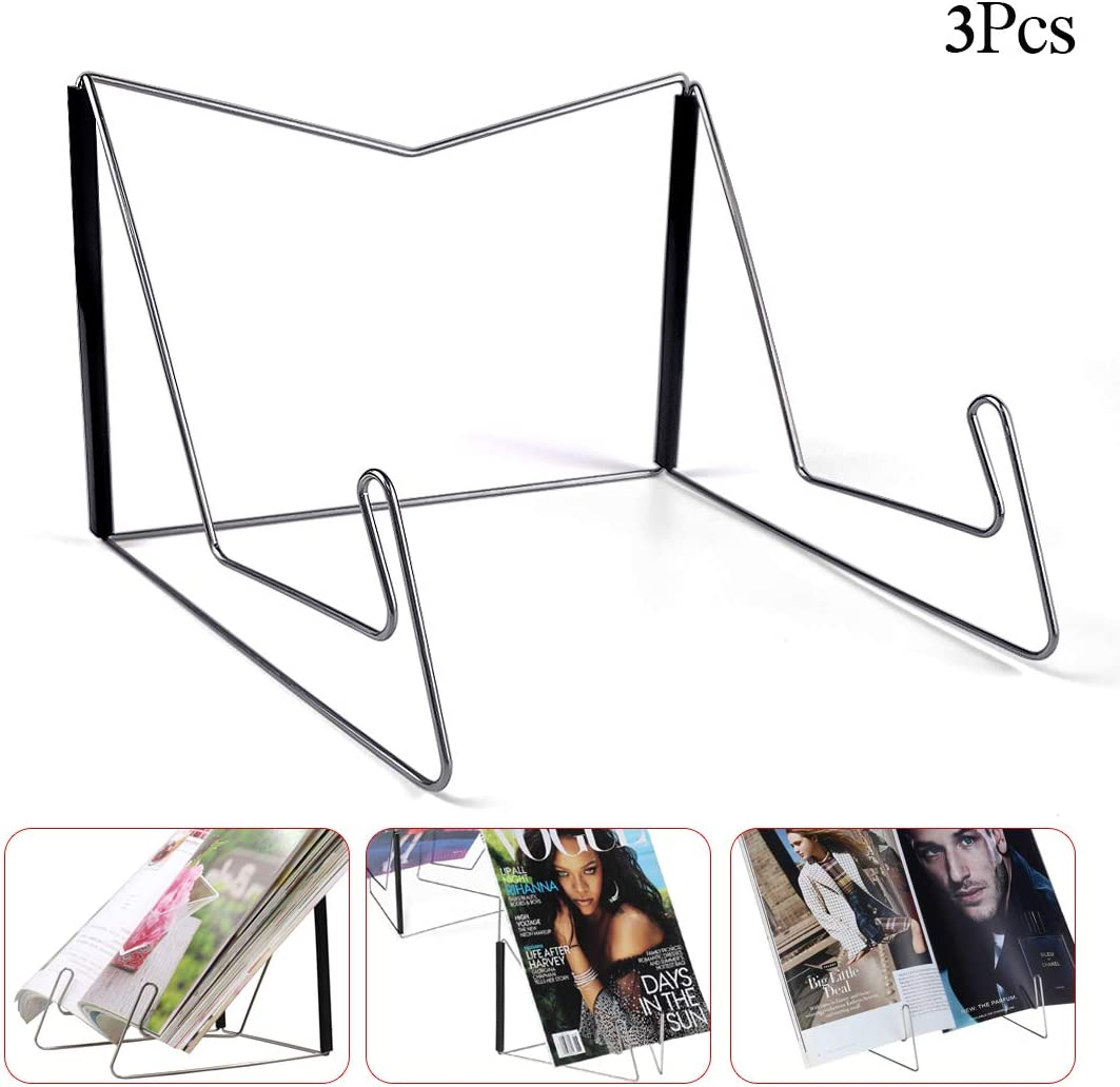 Metal Bookstand Music Book Easel Display Holder Book Bookrest for Hardcover Textbook I pad Cookbook Recipe 1 Pc Fold-n-Stow Book Stands Portable Reading Stand Book Holder Compact /& Sturdy